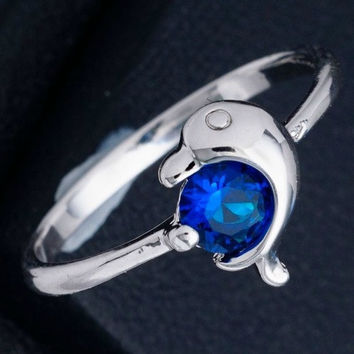 Dolphin 18K White Gold Plated Blue Solitaire Cubic Zirconia Ring