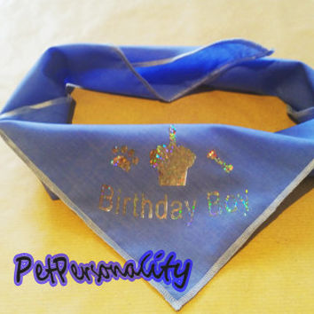 Birthday Boy Dog Bandana with Cake Print, Choice of Colours and Sizes FREE UK P&P Sparkle Print