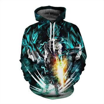 2017 Japanese anime spring breathable sweater Dragon Ball Sun Wukong Super Saiya people 3D printing hat sweater hoodie cosplay