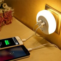 Smart Design LED Dual Charger With Light Sensor For Bathroom And Bedroom