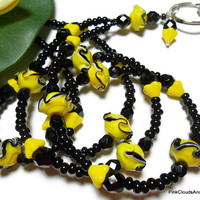 Beaded Lanyard Id Badge Necklace Black and Yellow One of a Kind Fashion Jewelry Handmade Strong Breakaway by PinkCloudsAndAngels