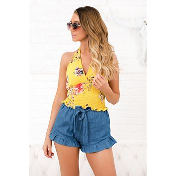 Just One Look Floral Top (Yellow)
