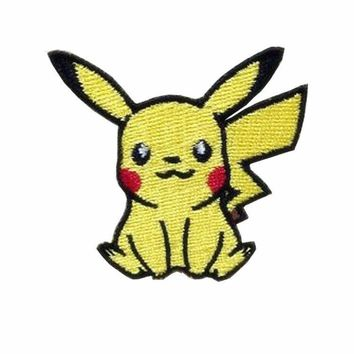2Pcs Yellow  Pikachu Applique Patches  Apparel Sewing & Fabric Sticker On Cloth Garment Hat Bag AccessoriesKawaii Pokemon go  AT_89_9