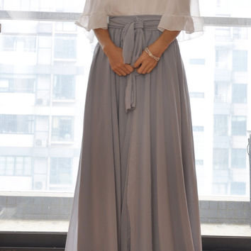 Beautiful Bow Tie Chiffon Maxi Skirt Silk Skirts Gray Elastic Waist Summer Skirt Floor Length Long Skirt(037)