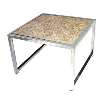 Hand Carved Coffee Table Natural,Stainless Steel