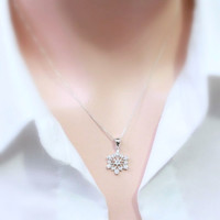 Snowflake Necklace, Sterling Silver and CZ Snowflake Pendant on Sterling Silver Necklace Chain