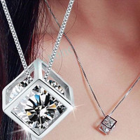 Sterling Silver Fashion Women's 925  Chain Crystal Rhinestone Pendant Necklace