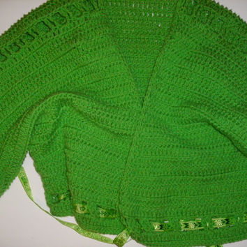 Handmade crocheted Green Bolero Jacket by CanadianCraftCritter