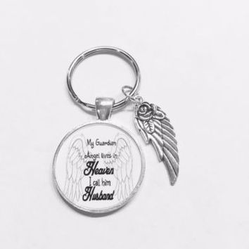 Husband My Guardian Angel Lives In Heaven Wing In Memory Sympathy Gift Keychain