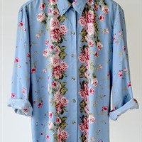 Vintage Mirrored Floral Printed Shirt Size Large from MemoirVintage