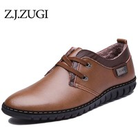 Z.J.ZUGI 2018 winter shoes men PU Leather Newest  Short Plush Keep Warm Driving Shoes Resisting Casual men shoes solid loafer