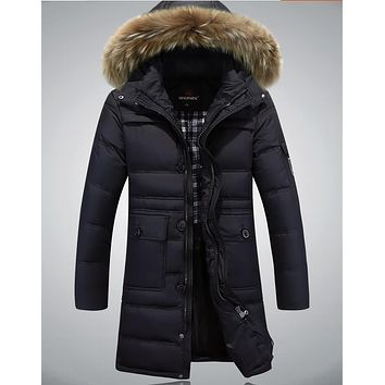 2016 Men's Winter Coat 80% White Duck Down Fur Collar Coat Keep Warm section Jacket Solid Color Down Jacket
