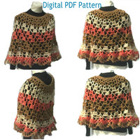Cheesecake Crochet Poncho Pattern Round Shawl Handmade Crochet Pullover Poncho Capelet Coverup  not a finished product. It is a PDF Pattern