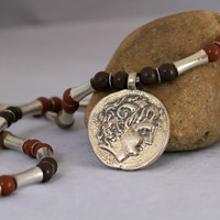 Men's Brown Wooden Bead and Metal Tube Coin Pendant Necklace