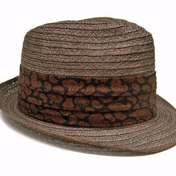 Vintage 1960s Fedora Straw Hat Brown Fedora Black Paisley Hat 6 3/4 size Small