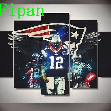 AtFipan New England Patriots Regular Tom Brady Modern Home Cuadros Decor Wall Pictures For Living Room Artworks Canvas Painting