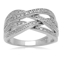 Sterling Silver Crossover Diamond Ring (1/5 cttw, I-J Color, I3 Clarity)