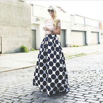 Fashion Polka Dot Printed Long Skirt = 5660124993