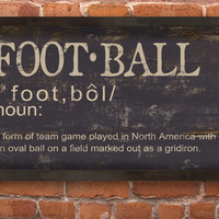 "Football definition handmade wooden sign with distressed black frame.  Approx. 13""x19""x3/4"""