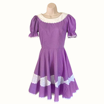 Vintage Square Dance Dress Square Dance Clothes Square Dance Clothing White Voile Dress Lavender Dress Women Purple Dress Short Sleeve Dress
