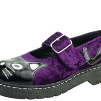 T2222 PURPLE CRUSHED VEGAN VELVET KITTY MARY JANES