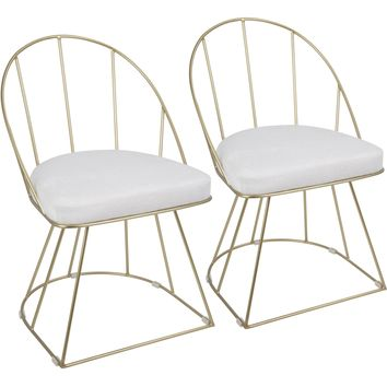 Canary Dining / Accent Chairs with White Mohair Fabric, Gold (Set of 2)