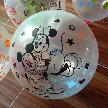 New balloon 50pcs 20p 12inch 2.8g Transparent Printing Mickey Mouse Latex Balloons Air Balls Inflatable Wedding Birthday Party A
