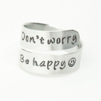 Don't worry Be happy ring - Smiley face ring - Handmade adjustable message ring Happy ring Cheerful ring