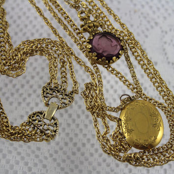 Sexy Long Victorian Goldette Graduated Chain Amethyst Intaglio & Locket Necklace