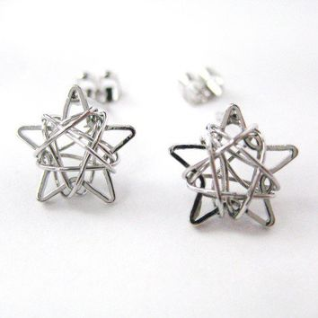 Dotoly | Mini 3D Starry Night Star Stud Earrings in Silver | Online Store Powered by Storenvy