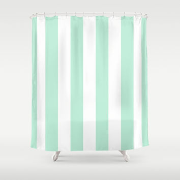 stripe vertical mint green shower curtain by beautiful homes