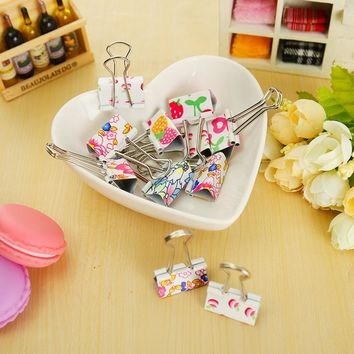 4 pcs/lot cute floral binder clips file clip organizer papelaria kawaii stationery office & school supplies zakka