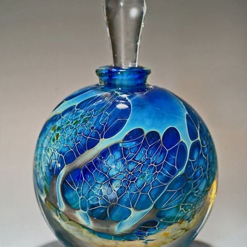 Round Silver Veil Teal Perfume Bottle by Robert Burch: Art Glass Perfume Bottle | Artful Home