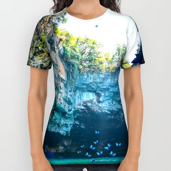 Sea Cave in Greece All Over Print Shirt by Azima