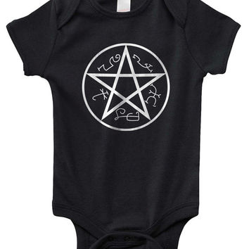 Devil Trap Supernatural symbol Infant Lap Shoulder Creeper Onesuit