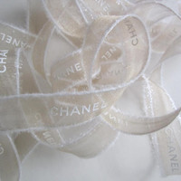 "Authentic CHANEL Gold Ribbon with White Logo Letters 3/4"" - 1 YARD / DIY Headband Hairbow / Gift Wrapping"