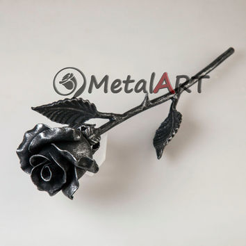 6th Anniversary Gift - Metal Rose, Steel Rose, Iron Rose, hand forged Rose, Silver Rose, Metal Sculpture, 6 Year Wedding Anniversary