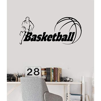 Vinyl Wall Decal Basketball Lettering Player Boys Room Art Stickers Mural Unique Gift (ig5006)