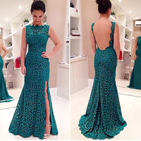 2015 Women Ladies New Fashion Dark Green Floral Lace Long Dress Backless Side Split Prom Party Evening Dress Gown = 1955672964