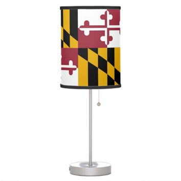Patriotic table lamp with Flag of Maryland
