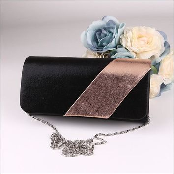 Golden Black Panelled Fashion Women's Evening Clutch Bag Velvet Lady's Party Phone Bag Wedding Handbags