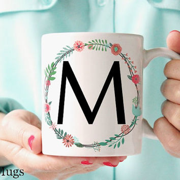 Monogram Coffee Mugs, Personalized Coffee Mugs, Custom Name Mugs, Monogrammed Gifts, Initial Floral Coffee Mug, Monogram Gift for Her (P311)