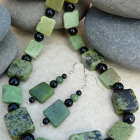 Jade Gemstone Necklace and Earrings Set