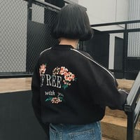 2017 hoodies women winter coats kawaii clothes hoodie embroidered flowers letters kawaii ulzzang harajuku sweatshirt women
