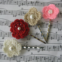 crochet bobby pins hairpins red, cream, pink, and tan updo hairpin set of four
