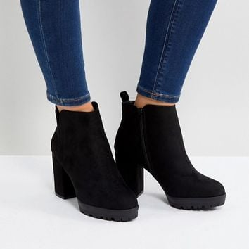 New Look Wide Fit Chunky Cleated Sole Heeled Ankle Boot at asos.com