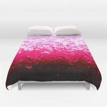 Hot Pink Crystals Ombre Duvet Cover by 2sweet4words Designs