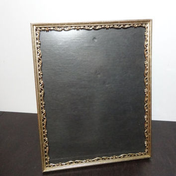 Vintage 8 x 10 Ornate Brass or Gold Tone Metal Filigree Laced Edge Design Picture Frame - Hollywood Regency/Shabby Chic