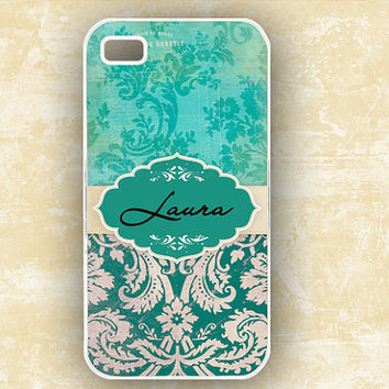 Iphone 4 case Tiffany blue and teal grunge damask by ToGildTheLily