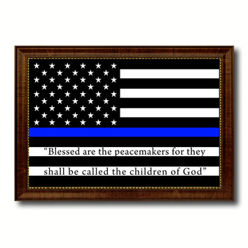 Law Enforcement Thin Blue Line Flag With Mathew 5:9 USA Flag Canvas Print with Brown Picture Frame Home Decor Wall Art Gift Ideas